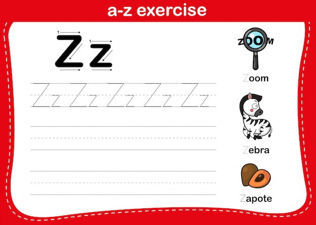 Alphabet az übung mit cartoon vokabular illustration, vektor