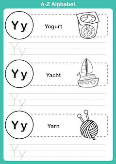 Alphabet az-übung mit karikaturvokabular für malbuch