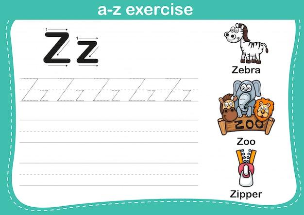 Alphabet az übung mit karikaturvokabularillustration