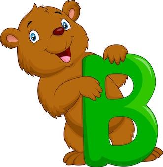 Alphabet b mit bärenkarikatur