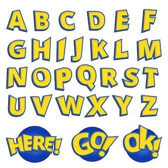 Alphabet beschriftet gelben kinderschrifttyp, karikaturspielart