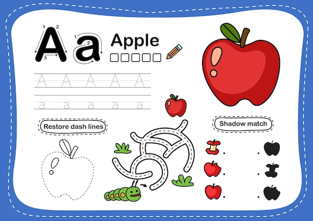 Alphabet buchstabe a - apfelübung mit cartoonvokabular