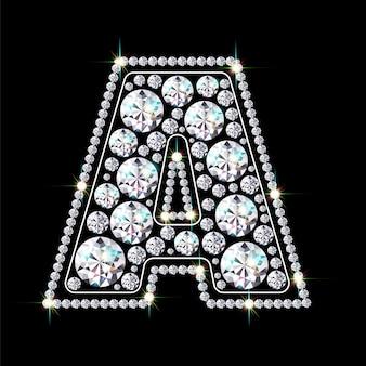 Alphabet buchstabe a aus leuchtenden, funkelnden diamanten