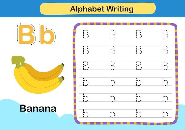 Alphabet buchstabe b bananenübung mit karikaturvokabularillustration