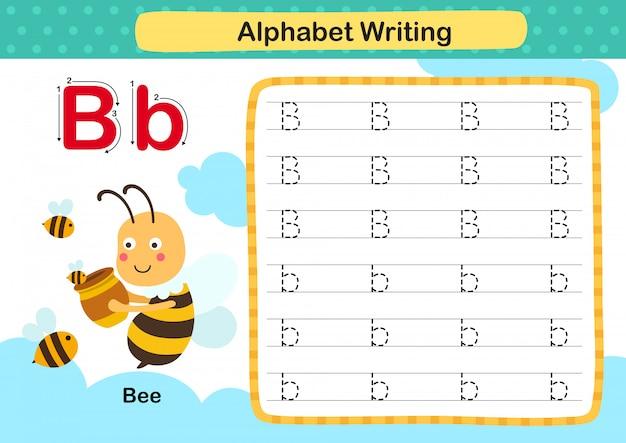 Alphabet buchstabe b-biene übung mit karikaturvokabularillustration