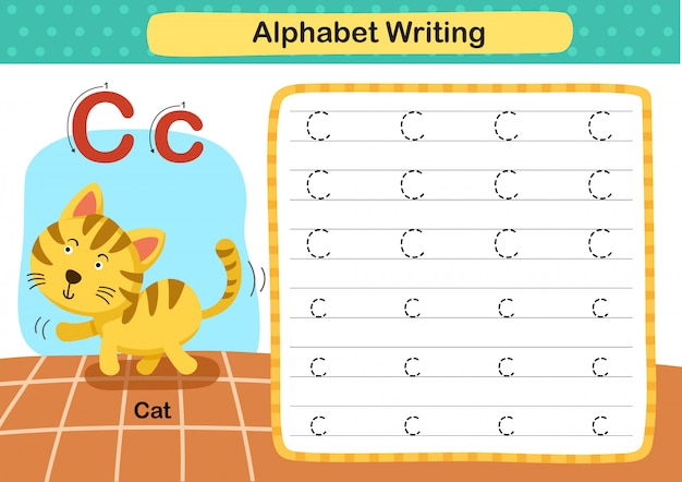 Alphabet buchstabe c-katze übung mit cartoon vokabular illustration