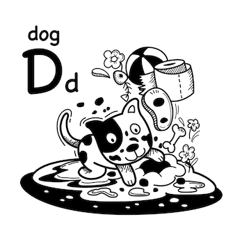 Alphabet buchstabe d hund in der hand gezeichnet