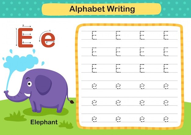 Alphabet buchstabe e-elefant übung mit cartoon vokabular illustration