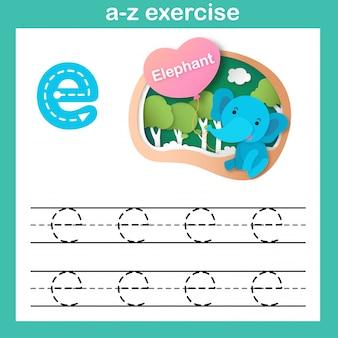 Alphabet-buchstabe-e-elefantübung, papier schnitt konzeptvektorillustration
