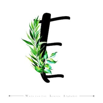 Alphabet-buchstabe e mit aquarell verlässt hintergrund