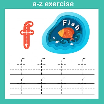 Alphabet-buchstabe f-fischübung, papier schnitt konzeptvektorillustration