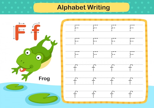 Alphabet buchstabe f-frosch übung mit cartoon vokabular illustration