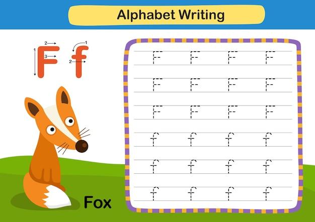 Alphabet buchstabe f fuchsübung mit karikaturvokabularillustration