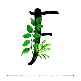 Alphabet-buchstabe f mit aquarell verlässt hintergrund