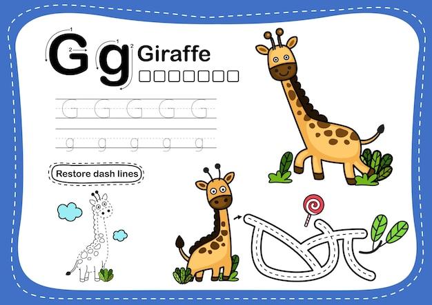 Alphabet buchstabe g-giraffe übung mit cartoon-vokabular