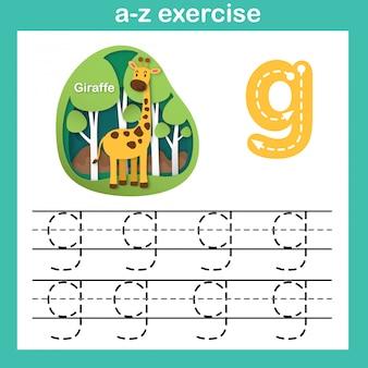 Alphabet-buchstabe g-giraffenübung, papier schnitt konzeptvektorillustration