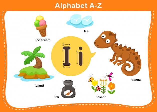 Alphabet buchstabe i illustration