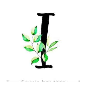Alphabet-buchstabe i mit aquarell verlässt hintergrund