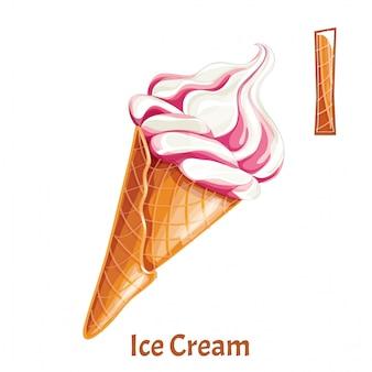 Alphabet, buchstabe i von ice cream