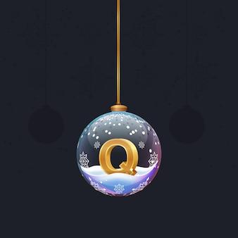 Alphabet-buchstabe im glas weihnachtsbaum spielzeug goldener 3d-buchstabe q in der kugel neujahrsdekoration
