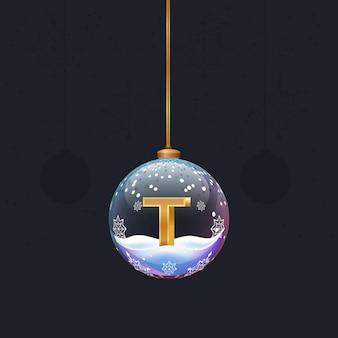 Alphabet-buchstabe im glas weihnachtsbaum spielzeug goldener 3d-buchstabe t in der kugel neujahrsdekoration