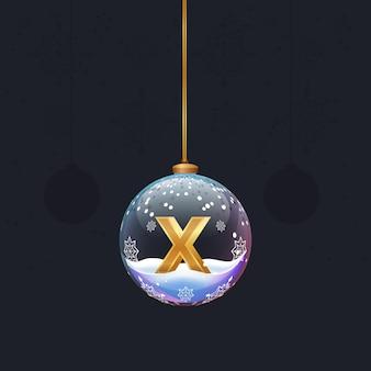Alphabet-buchstabe im glas weihnachtsbaum spielzeug goldener 3d-buchstabe x in der kugel neujahrsdekoration