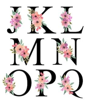 Alphabet-buchstabe j - q-design mit lila pfirsich-aquarell-blumenstrauß-dekoration-vektor-sammlung