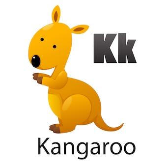 Alphabet-buchstabe k-känguru