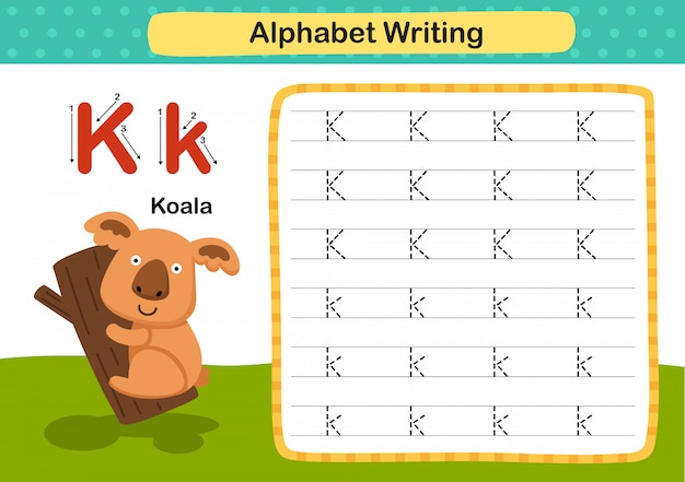 Alphabet buchstabe k-koala übung mit cartoon vokabular illustration