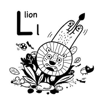 Alphabet buchstabe l löwe in der hand gezeichnet