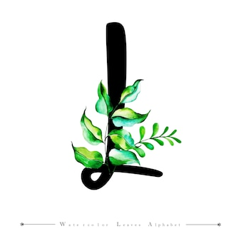 Alphabet-buchstabe l mit aquarell verlässt hintergrund