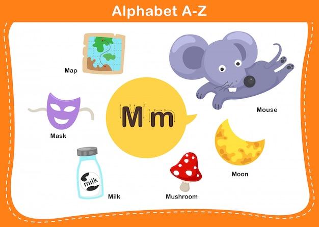 Alphabet buchstabe m illustration