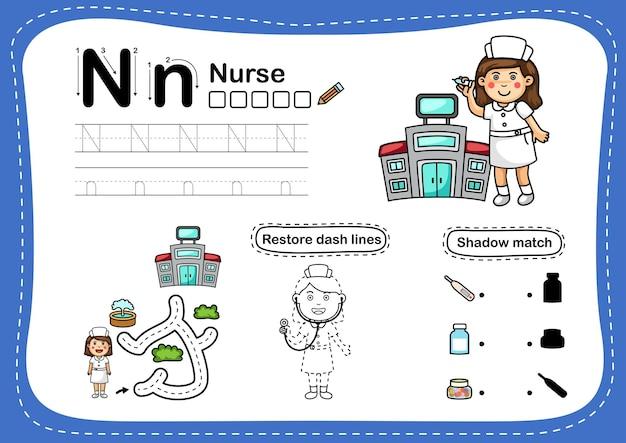 Alphabet buchstabe n-krankenschwester übung mit cartoon-vokabular