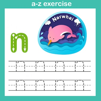 Alphabet-buchstabe n-narwal-übung, papier schnitt konzeptvektorillustration