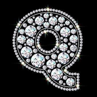 Alphabet-buchstabe q aus leuchtenden, funkelnden diamanten