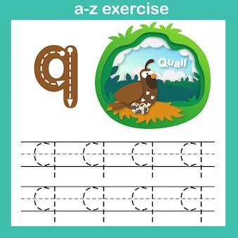Alphabet-buchstabe q-wachtelübung, papier schnitt konzeptvektorillustration