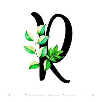 Alphabet-buchstabe r mit aquarell verlässt hintergrund