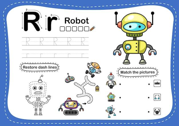 Alphabet buchstabe r-roboter übung mit cartoon-vokabular