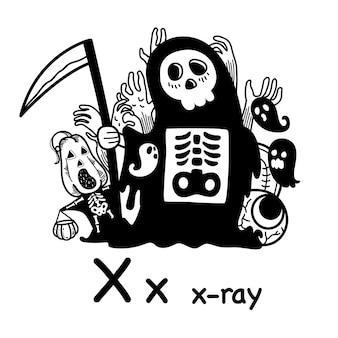 Alphabet buchstabe röntgen röntgen in der hand gezeichnet