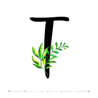 Alphabet buchstabe t mit aquarell verlässt hintergrund