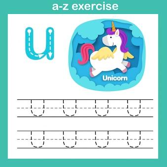 Alphabet-buchstabe u-einhornübung, papier schnitt konzeptvektorillustration