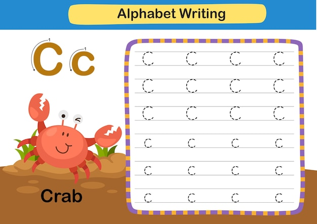 Alphabet buchstabe übung c krabbe mit karikaturvokabularillustration