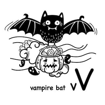 Alphabet buchstabe v vampirfledermaus in der hand gezeichnet