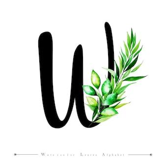 Alphabet-buchstabe w mit aquarell verlässt hintergrund