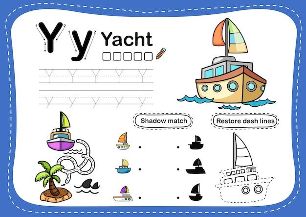 Alphabet buchstabe y-yacht übung mit cartoon-vokabular
