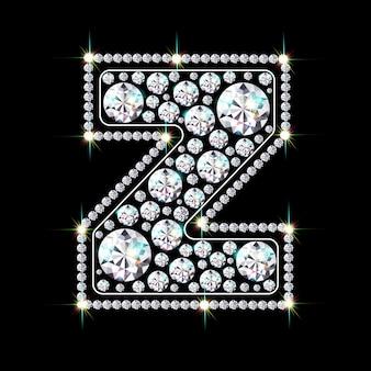 Alphabet-buchstabe z aus leuchtenden, funkelnden diamanten