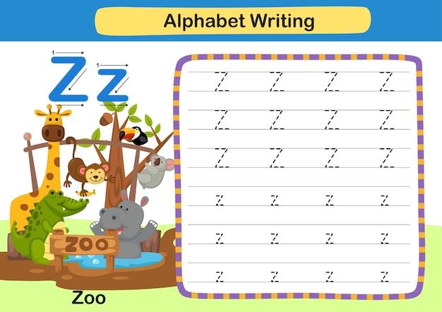 Alphabet buchstabe z zooübung mit karikaturvokabularillustration