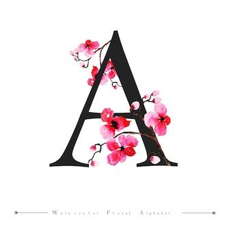 Alphabet buchstaben a aquarell blumen hintergrund