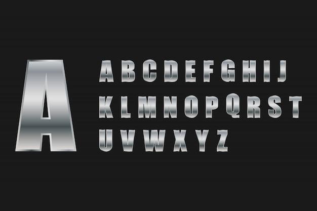Alphabet buchstaben set silber metall-stil.
