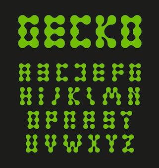 Alphabet buchstaben verbunden kreise grüne farbe gycon eidechse füße ungewöhnliche vektor buchstaben set abstrakt